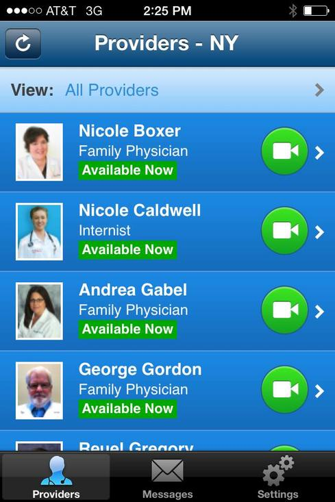 Online Care Group's American Well telehealth service is available on smartphones (like this iPhone), tablets, and desktops. (Source: American Well)